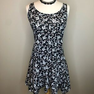 Aeropostale | Black Floral Fit and Flare Dress